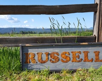 Rustic Wood Sign,  Last Name Wedding Farmhouse Style Home Decor, Metal Fixer Upper Shabby Chic Porch Sign, Entry Way Statement Wall Plaque