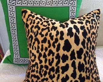 Green Greek Key Trim Pillow-Robert Allen Malachite Linen
