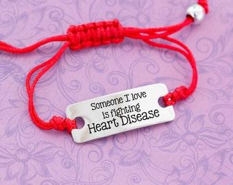 Someone I Love is Fighting Heart Disease - Heart Health - Awareness Jewelry - Awareness Bracelet - Adjustable Bracelet - Engraved Jewelry