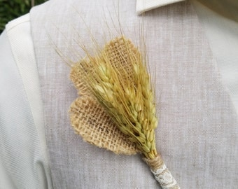 Wheat, Burlap and Lace Boutonniere for Rustic, Country, or Vintage Wedding