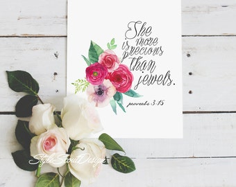 Proverbs Bible Verse wall art - Printable quotes, floral art print, bedroom decor, wall art prints