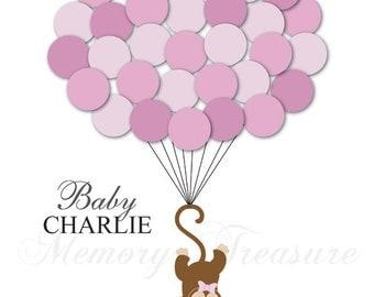 Baby Shower Guest Book Alternative Monkey Children Kids Birthday Balloons Poster Print Guest Sign Personalized Unique Creative Fun Original