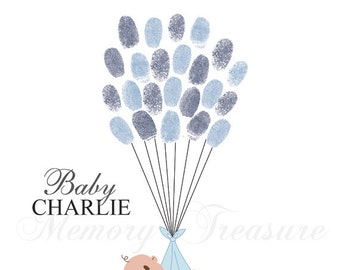Boy Baby Shower Guest Book Alternative Baby Shower Thumbprint Guestbook Baby Shower Fingerprint Guestbook Boy Baby Shower Blue Baby Shower