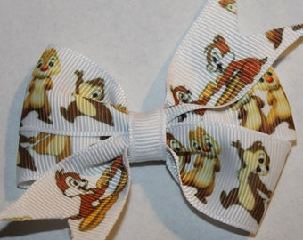 Mickey Mouse Clubhouse Hair Bow, Chip and Dale Hair Bow, Chip and Dale Bow, Chip Hair Bow, Dale Hair Bow, White Hair Bow, MMC Hair Bow
