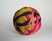 """Dyed to Order: """"Luna Lovegood (4 color self-striping)"""" - Peach, Black, Magenta, Gold Stripes"""