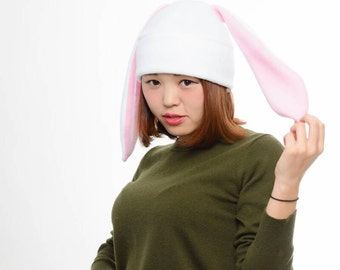 White Bunny - Rabbit Fleece Hat - Bunny Hat - White Rabbit Hat - Rabbit Ears - Bunny Ears - Fleece Hat - Winter Rabbit - Bunny Cosplay Hat