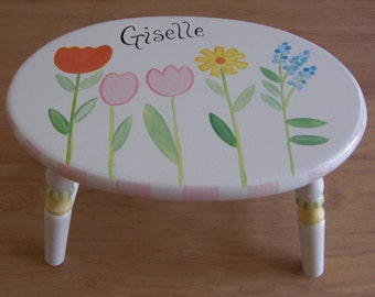hand painted step stool, child's step stool, step stools, oval flower step stool, personalized step stools