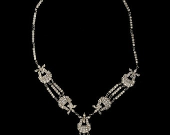 1930s Art Deco rhodium plated clear rhinestone necklace nlcs830(e)