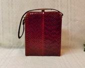 70s Vintage Red Genuine Real Snakeskin and Brass Handbag or Purse