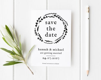 Wreath Save The Date, Simple Wedding Invite, Simple Wreath Save The Date Card, Modern Save The Date, Wreath Save Our Date, Simple Invite