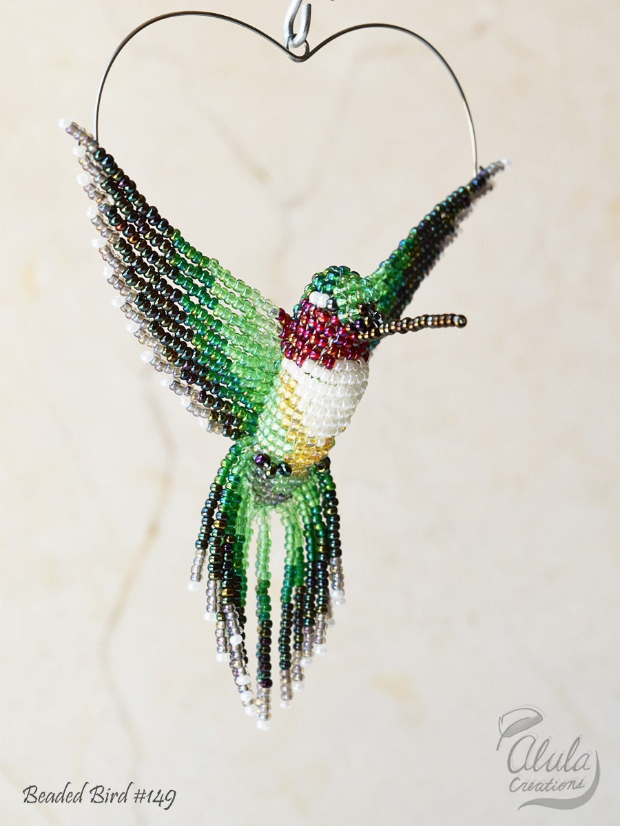 beaded bird ornament beaded hummingbird by alulacreations
