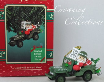 Enesco Good Will Toward Men Ornament Jeep Santa Claus 50th Anniversary End of WW2 Treasury of Christmas Car Vintage 1995