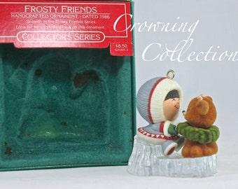 1986 Hallmark Frosty Friends Keepsake Ornament 7th in Series Eskimo Baby Reindeer Christmas Vintage