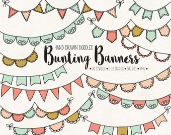 Hand Drawn Bunting Clip Art. Doodle Bunting Banners. Digital Garland Clipart. Retro, Vintage Bunting, Wedding Banner in Mint, Pink, Peach.