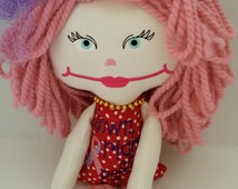 Cloth Cotton Doll,  Pink Hair Rag Doll, Miranda from the Sassy In The City Collection