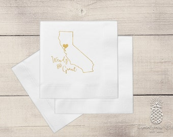 California Wedding Reception Napkins • Monogrammed Party Accessories • Weddings • Bridal Showers • Engagement • Letterpress Foil