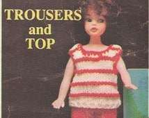 Vintage Doll Knitting Pattern Magazine 60s Trousers Top Skirt Jumper 11 - 12 inch Doll