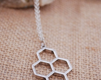 Honeycomb Necklace,  geometric necklace, silver beehive necklace, honeycomb pendant jewelry, bee jewelry
