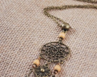 Long Dream Catcher Necklace, Antiqued Ohm Necklace, Buddhist Women's Necklace