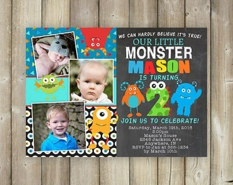 Little Monster Second Birthday Invitation, Boys 2nd Bday Invites, Multiple Photos, Digital File, Print Yourself