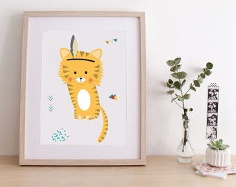 "Poster for children ""INDIAN TIGER"" - illustration tiger- perfect for a baby room"