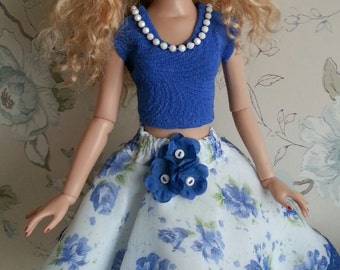 Salstuff UK, Royal Blue & White Chiffon Skirt and Hat outfit for Ellowyne Wilde Tonner Doll 16""