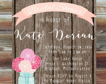 Rustic Flower and Wood Bridal Shower Invitation - Country Bridal Shower Invite - Engagement Party Invite - Bridal Shower Rustic and Country