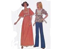 1970s woman top & long dress pattern, Simplicity 7435, size small, sleeve variations, tie and back zipper, square neckline, PREVIOUSLY CUT