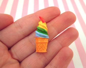 Rainbow Ice Cream Cabochons Ice Cream Cone Soft Serve Ice Cream, #079a