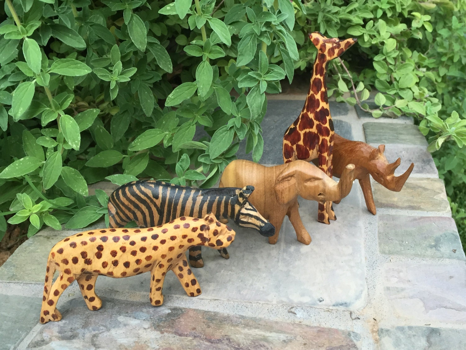 Set of carved wooden african animals miniature elephant