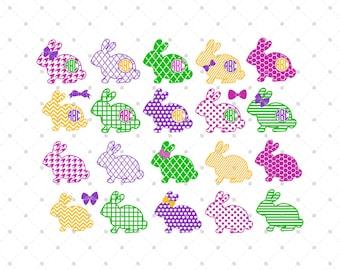 Easter Bunny Svg Cut Files, Easter Svg, Easter Monogram Svg, Bunny Svg, Silhouette Cut Files, Cricut Cut Files, Svg Files