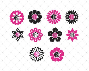 Flower Monogram Frame SVG Cut Files, Spring Flower SVG, Cut Files for Cricut, Silhouette and other Vinyl Cutters, svg files
