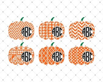 Halloween Pumpkin Monogram Frame svg cut files, Halloween svg, Pumpkin svg cut files for Cricut, Cut files for Silhouette, svg files