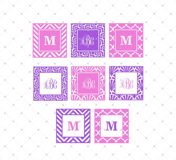 square monogram frames svg eps dxf png cut files cricut