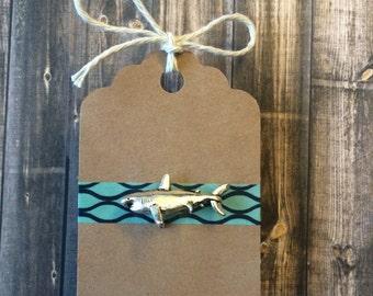 Shark Lapel Pin / Tie Tack - Antique Silver Tone- 3D
