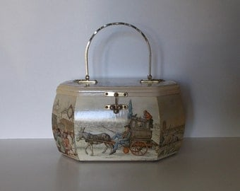 Octagon Wooden Box Bag with Anton Pieck Decoupage - 1970s