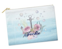 Personalized bridesmaid gifts custom zipper pouches wedding nautical beach wedding blue aqua water cosmetic bag coin purse makeup case