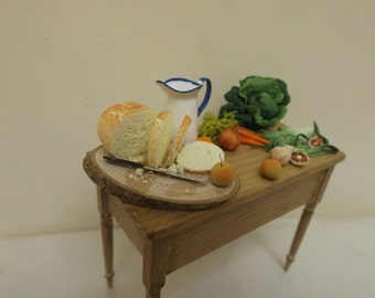 dollhouse, dolls house, miniature table, handmade dressed kitchen table, one inch scale , real pine x