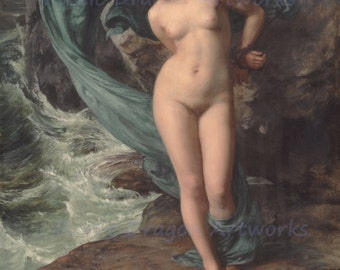 "Edward Poynter ""Andromeda"" 1869 Nude Ocean Reproduction Digital Print Vintage Print Wall Hanging"