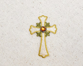 Religious Jeweled Cross - Silver and Gold - Iron on Applique - Embroidered Patch - 695660-A