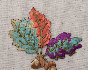 Two Acorns - Colorful Fall Leaves - Oak Tree - Iron on Applique - Embroidered Patch - 611578A
