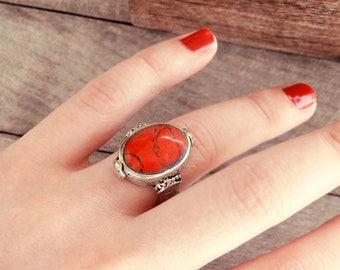 Afghan ring, Afghan jewelry, coral ring, antique ring, old ring, Bedouin ring, vintage ring, ethnic ring, tribal ring, Bedouin jewelry
