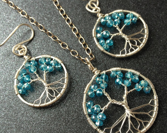 Aquamarine Tree-Of-Life Set Silver Wire Wrapped Earrings Pendant Aquamarine Jewelry March Birthstone Pisces 19th Anniversary 19th Birthday