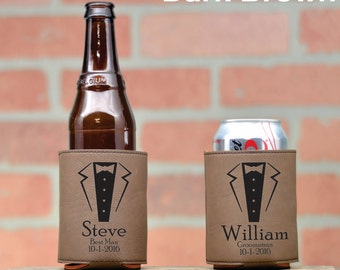 Leather Wedding Can Coolers. Personalized Can Coolers. Wedding Party Favors. Tuxedo. Custom Leather Can Cozie. Beer Cozy. Beverage Cooler