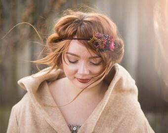 Elastic Headband, Flower Headband, Vintage Headband, Retro Hair Tie, Flower Hair Tie, Vintage Wedding, Bridal Hairband, Flower Hairpiece
