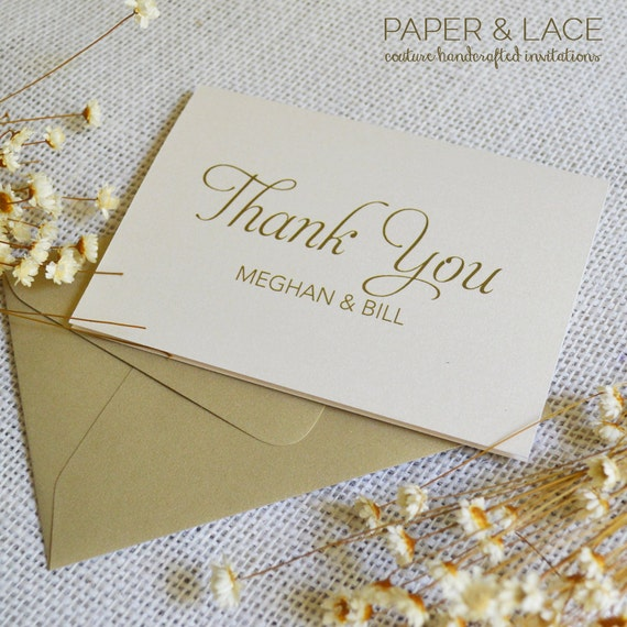 Personalized Thank You Cards - Ivory & Gold - Custom Thank You Notes - Blank Inside - Wedding - Bridal Shower - Many Colors Available