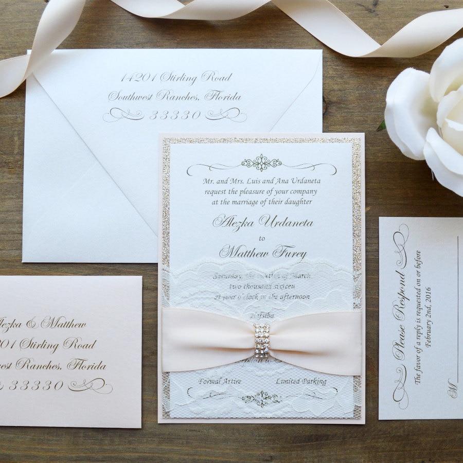 ALEZKA Lace Pocket Wedding Invitation Blush And Gold