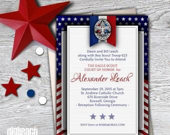 Eagle Scout Court of Honor Invitation: Patriotic Flag - Digital File