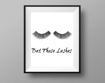Bat Those Lashes | Makeup Print | Makeup Decor | Eye Lashes Print | Eyelashes Printables | Makeup Decor Prints | Instant Digital Download