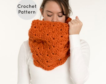 CROCHET PATTERN - Chunky Crochet Shell Stitch Infinity Scarf, Crocheted Cowl, DIY Easy Neck Warmer - The Poplar Cowl